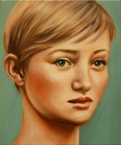 "Rene Lynch . ""Gaze (Boy Cut)"" . oil on canvas . 12"" x 10"" . 2007"